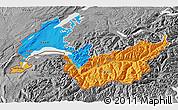 Political 3D Map of Genferseeregion, desaturated