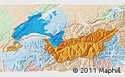 Political 3D Map of Genferseeregion, lighten