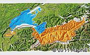 Political 3D Map of Genferseeregion, satellite outside