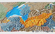 Political 3D Map of Genferseeregion, semi-desaturated