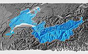 Political Shades 3D Map of Genferseeregion, darken, desaturated