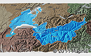 Political Shades 3D Map of Genferseeregion, darken, semi-desaturated