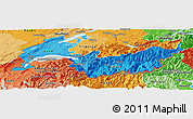Political Shades Panoramic Map of Genferseeregion