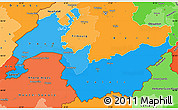 Political Shades Simple Map of Genferseeregion