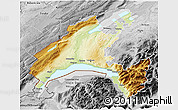 Physical 3D Map of Vaud, desaturated