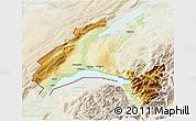 Physical 3D Map of Vaud, lighten