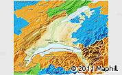 Physical 3D Map of Vaud, political outside