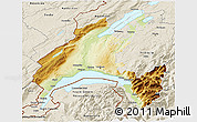 Physical 3D Map of Vaud, shaded relief outside
