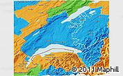 Political 3D Map of Vaud