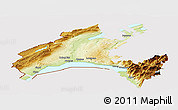 Physical Panoramic Map of Vaud, cropped outside
