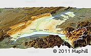 Physical Panoramic Map of Vaud, darken