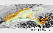 Physical Panoramic Map of Vaud, desaturated