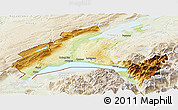 Physical Panoramic Map of Vaud, lighten