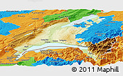 Physical Panoramic Map of Vaud, political outside