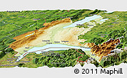 Physical Panoramic Map of Vaud, satellite outside