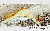 Physical Panoramic Map of Vaud, semi-desaturated