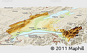 Physical Panoramic Map of Vaud, shaded relief outside