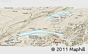 Shaded Relief Panoramic Map of Vaud