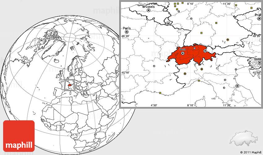 Blank Location Map of Switzerland