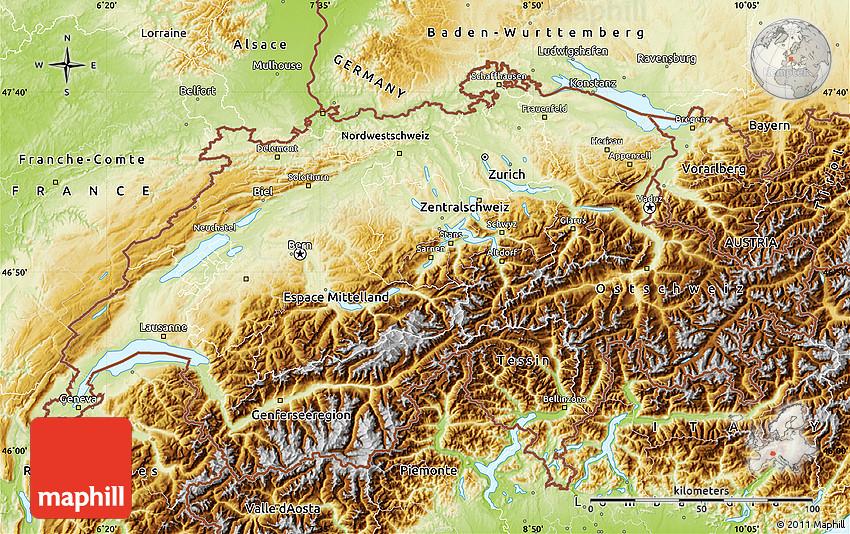 Physical Map of Switzerland