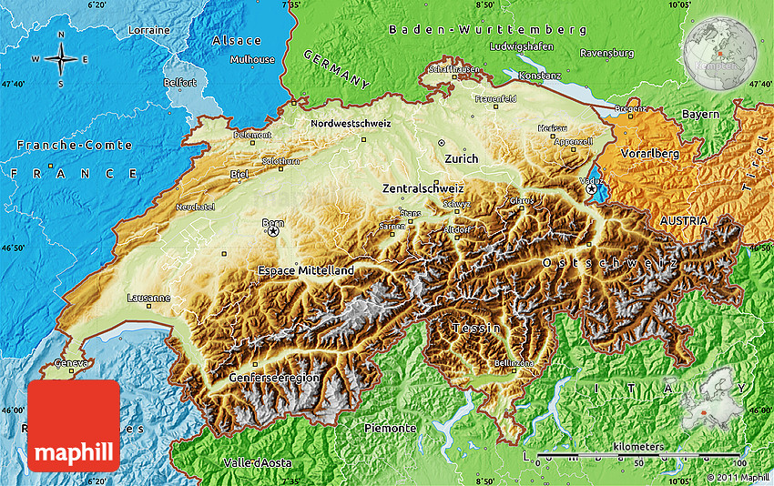 Physical Map of Switzerland political shades outside