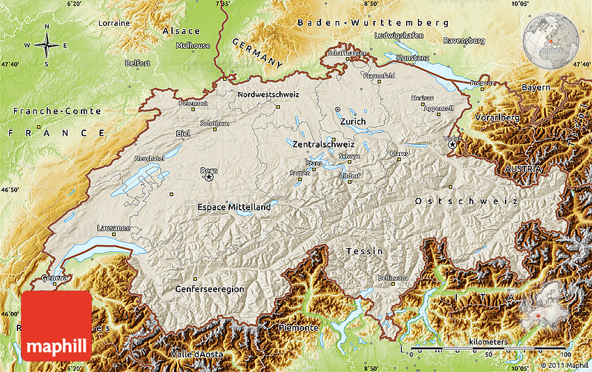 Shaded Relief Map of Switzerland physical outside