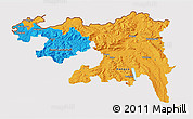 Political 3D Map of Nordwestschweiz, cropped outside