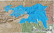 Political Shades 3D Map of Nordwestschweiz, semi-desaturated