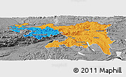 Political Panoramic Map of Nordwestschweiz, desaturated