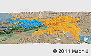 Political Panoramic Map of Nordwestschweiz, semi-desaturated