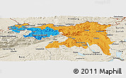 Political Panoramic Map of Nordwestschweiz, shaded relief outside