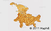 Political Shades 3D Map of Ostschweiz, cropped outside