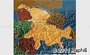 Political Shades 3D Map of Ostschweiz, darken