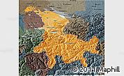 Political Shades 3D Map of Ostschweiz, darken, semi-desaturated