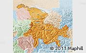 Political Shades 3D Map of Ostschweiz, lighten
