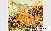 Political Shades 3D Map of Ostschweiz, physical outside