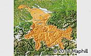 Political Shades 3D Map of Ostschweiz, satellite outside