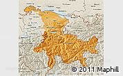 Political Shades 3D Map of Ostschweiz, shaded relief outside