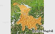 Political Shades Map of Ostschweiz, satellite outside