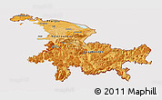 Political Shades Panoramic Map of Ostschweiz, cropped outside