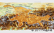 Political Shades Panoramic Map of Ostschweiz, physical outside