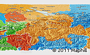 Political Shades Panoramic Map of Ostschweiz