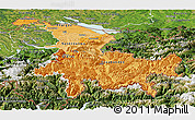 Political Shades Panoramic Map of Ostschweiz, satellite outside