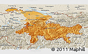 Political Shades Panoramic Map of Ostschweiz, shaded relief outside