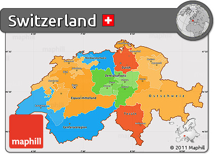 Free Political Simple Map of Switzerland cropped outside