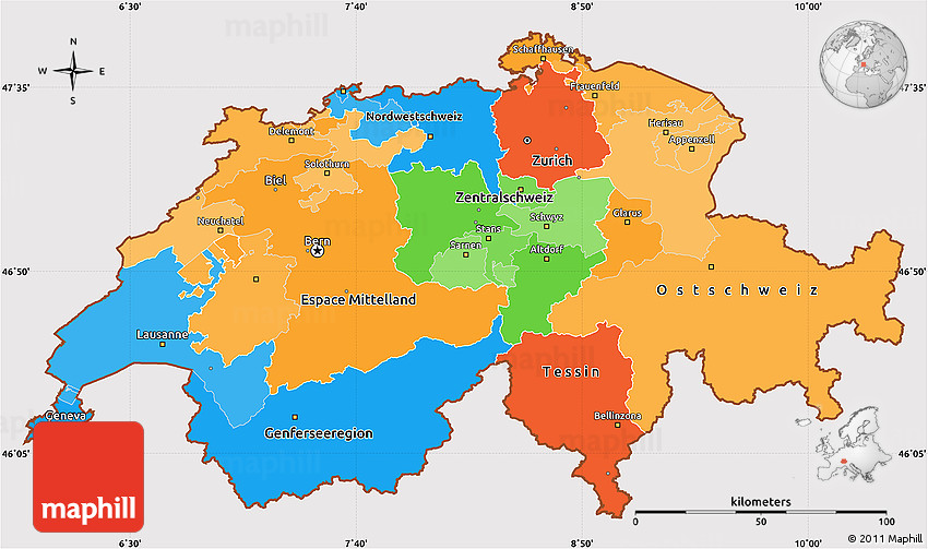 Political Simple Map of Switzerland cropped outside