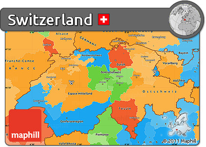 Free Political Simple Map of Switzerland