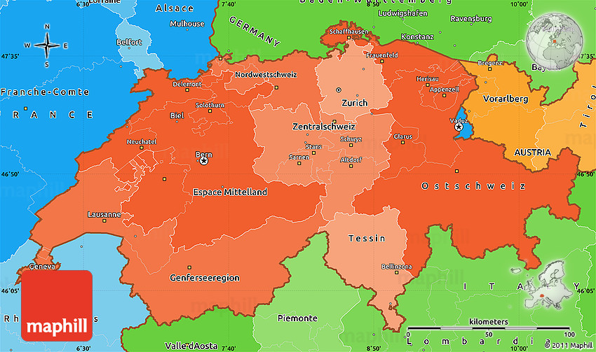 Political Shades Simple Map of Switzerland