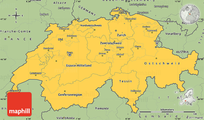 Savanna Style Simple Map of Switzerland