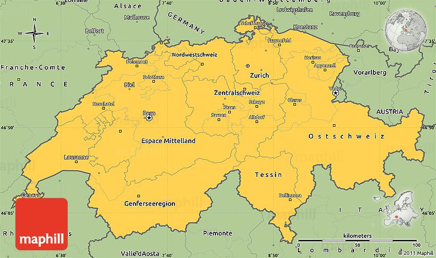 Savanna Style Simple Map Of Switzerland - Switzerland map